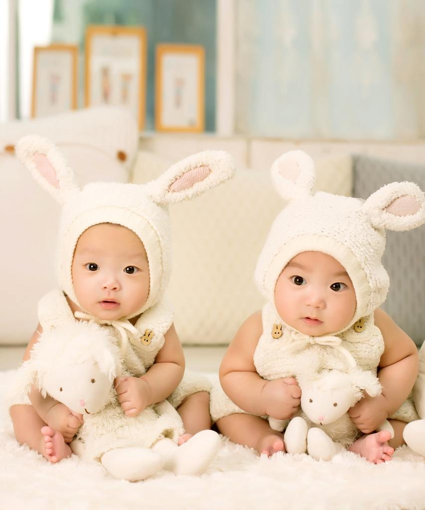 identical twins in bunny outfits